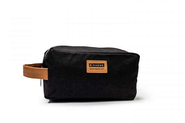 kaeme black star canvas print toiletry bag